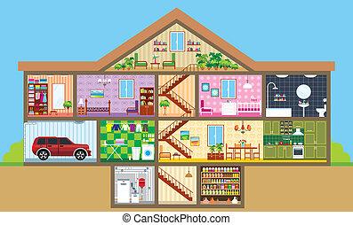 Haus in einem Schnitt
