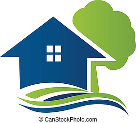 Haus mit Baum und Wellen Logo