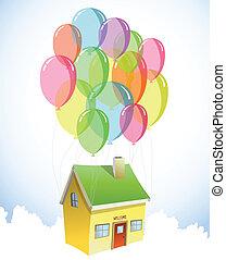 Haus mit bunten Ballons. Vector