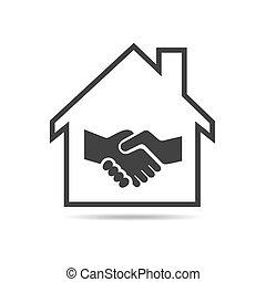 Haus mit Handschlag-Ikone. Vector Illustration.