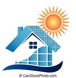 Haus mit Solarpaneele Logo.