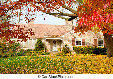 Haus-Piladelphia, gelber Herbst fällt Baum