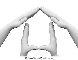 haus, symbol, 3d, abbildung, hände