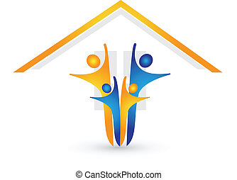 Haus und glücklicher Familienlogovektor