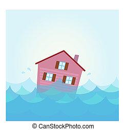 Hausflut unter Wasser