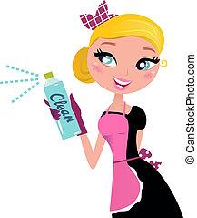 Hausfrau? Französisches Retro Maid mit Spray