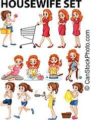 Hausfrau macht andere Aktivitäten.