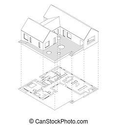Hausprojektion mit Plan