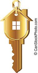 Hausschlüssel-Gold-Logo
