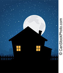 Haussilhouette in der Sternennacht