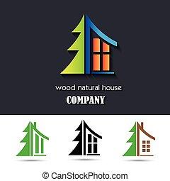 Haussymbol mit Holzmaterial.