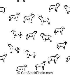 haustier, muster, hund, vektor, seamless