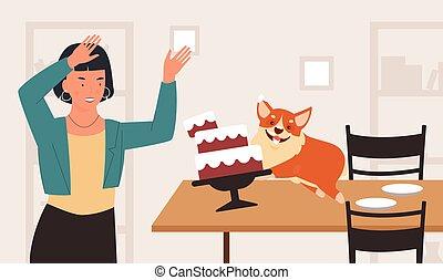 haustier, problem, rennender , schock, tisch, eigentümer, junger hund, hund, verhalten, frau, lustiges, böses