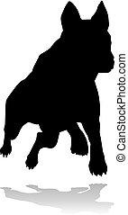 haustier, silhouette, hund, tier