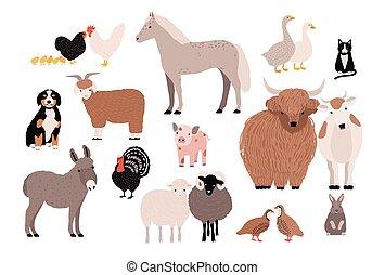 Haustiere, bunte Sammlung. Hübsche Haustiere. Hand gezeichnete Vektorgrafik auf weißem Hintergrund.