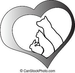 Haustiere und Herz
