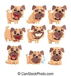 haustierkragen, mops, junger hund, ausdrücke, wenig, karikatur, gesichtsbehandlung, hund, satz, illustrationen, tätigkeiten, emoji