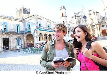 havana, reise, touristen, paar, kuba