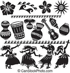 Hawaiian Set mit Tänzern und Musikinstrumenten