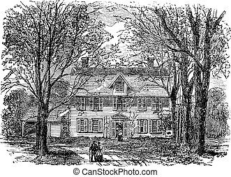 Hawthorne-Haus in Concord, Massachusetts Vintage Gravur