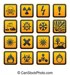 Hazard symbolisiert orange Vektoren