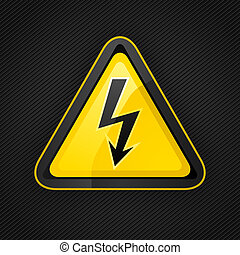 Hazard Warndreieck Hochspannungszeichen auf einer Metalloberfläche.