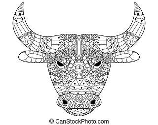 Head Bull Farbvektor für Erwachsene
