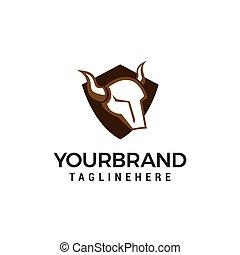 Head Bull Schild Logo Design Konzept Vorlage Vektor.