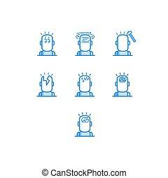 Headache-Typen skizzieren Symbole - verschiedene Symbole des menschlichen Kopfes mit verschiedenen Schmerzen.