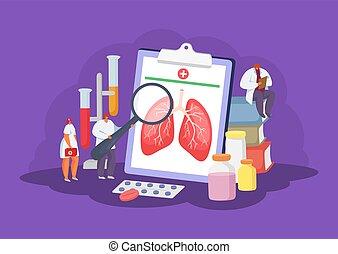 healthcare, begriff, vektor, lungen, diagnose, illustration., medizinische behandlung, gesundheit, behandlung, doktoren