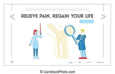 healthcare, orthopedist, glas., orthopädie, klinikum, linear, zeigen, bein, template., landung, seite, leute, riesig, vergrößern, zeichen, medizinischer doktor, krankenschwester, knochen, abbildung, concilium., vektor