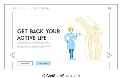 healthcare, orthopedist, orthopädie, hospital., x-ray., patient, linear, behandlung, stehen, template., landung, seite, gelenk, fuß, riesig, medizin, zeichen, doktor, fußheilkunde, knie, abbildung, vektor