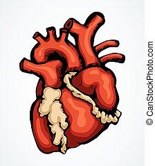 heart., drawingicon, vektor, zeichen