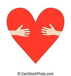 Heart In Hands Umarmung Vektorspende fördern Illustration.