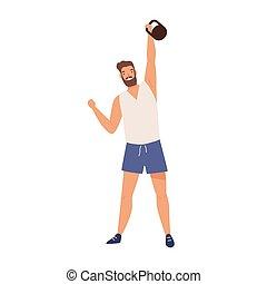 heben, haben, workout, vektor, freigestellt, athletische, white., demonstrieren, kettlebell, schwer , mann, ausrüstung, illustration., muskulös, training, macht, starke , weightlifter, sportler, wohnung, powerlifter, oder