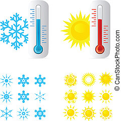 heiß, thermometer, kalte , temperatur