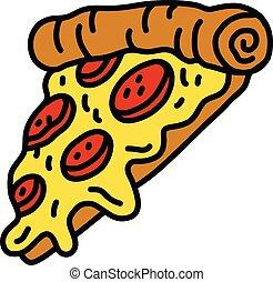 Heiße Cartoon Pizzascheibe.