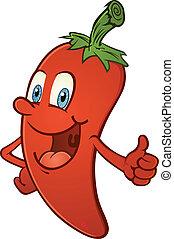 Heiße Paprika Daumen hoch Cartoon