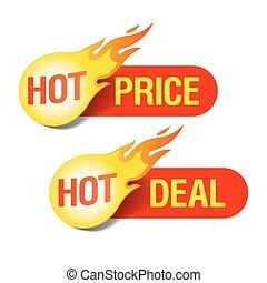 Heißer Preis und heiße Deal Tags.