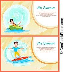 Heißer Sommer, buntes Bild, Wassersportaktivitäten.