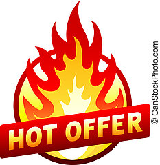 Heißes Angebot roten Preisaufkleber mit Flamme.