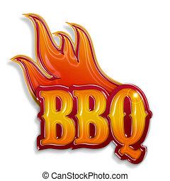 Heißes Barbecue-Label isoliert auf weißem Hintergrund