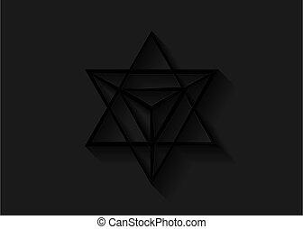 heilig, linie, 3d, schwarzes dreieck, icon., wicca, esoterisch, oder, geometrisch, geist, licht, geistig, tetrahedron, symbol., koerper, merkaba, schatten, geometry., weissagung, schlanke, freigestellt, form., hintergrund., stern