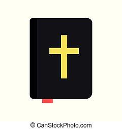 Heilige Bibel. Heilige Schriften. Religiöse Literatur. Religionstraditionen der orthodoxen Kirche. Icon im flachen Stil. Isolierte Vektorgrafik