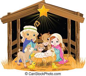 Heilige Familie am Weihnachtsabend.