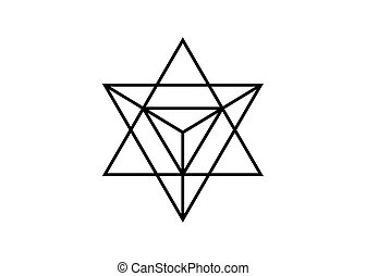 Heilige Geometrie. Merkaba dünne, geometrische Dreiecksform. Esoterisches oder spirituelles Symbol. Auf weißem Hintergrund. Star tetrahedron Ikone. Leichter Körper, wicca esoterische Göttlichkeit