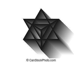 Heilige Geometrie. Merkaba dünne, geometrische Dreiecksform. Esoterisches oder spirituelles Symbol. Auf weißem Hintergrund. Star tetrahedron Ikone. Leichter Körper, wicca esoterische Göttlichkeit, 3D Schatten
