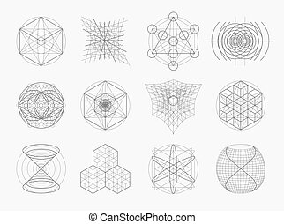 Heilige Geometrie-Symbole und -Elemente.