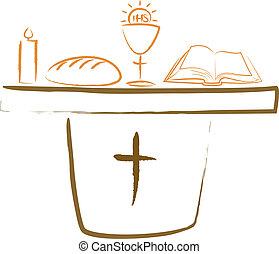 Heilige Kommunion - Altar und Religiou