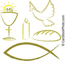 Heilige Kommunion - religiöse Symbole